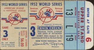 1952 World Series Game 3 Ticket Stub Dodgers at Yankees