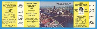 1970 Mets at Pirates Three Rivers Opening Day stub