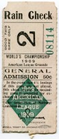 1909 World Series Game 2 Pirates at Tigers ticket stub