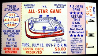 1971 All Star Game Setroit Reggie Jackson stub
