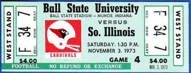 1973 NCAAF Southern Illinois at Ball State ticket stub