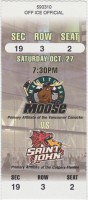 2001 IHL Manitoba Moose ticket stub vs Saint John