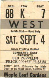 1971 Led Zeppelin Maple Leaf Gardens Toronto stub