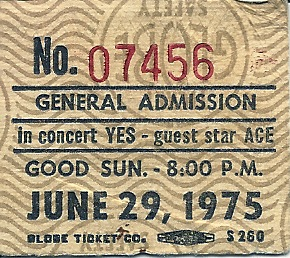YES, with Ace - Portland Memorial Coliseum, 1975 stub
