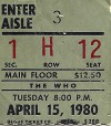 The Who – Seattle Center Arena , April 15, 1980