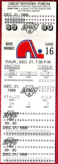 1989 Nordiques at Kings  stub