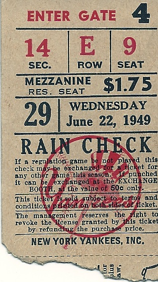 St. Louis Browns at New York Yankees - 1949 stub