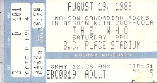 The WHO - 1989 at BC Place - Vancouver, Canada stub