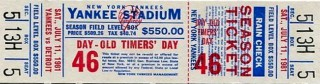 1981 Tigers at Yankees Old Timers Day stub