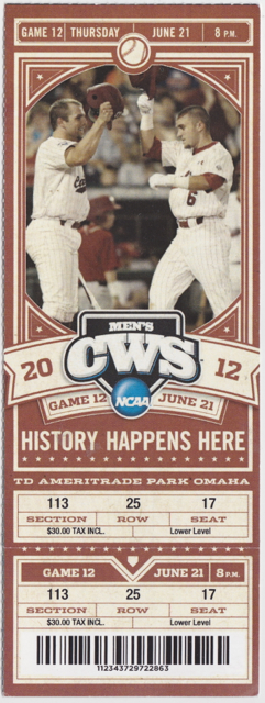 2012 College World Series Game 12 stub