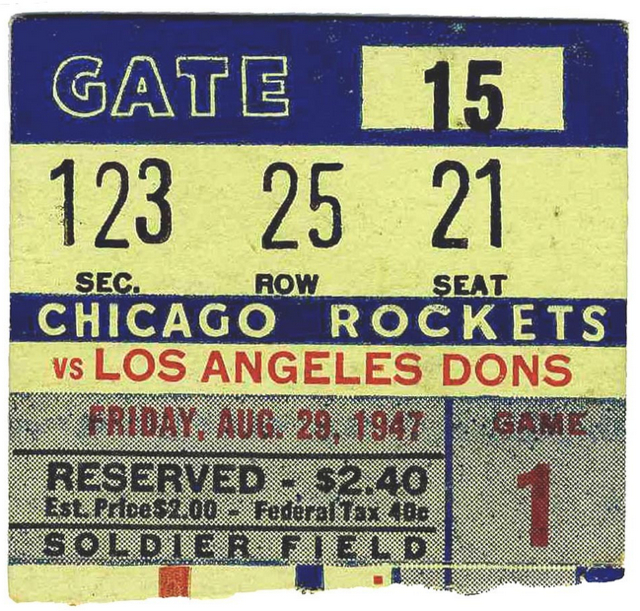 1947 AAFC LA Dons at Chicago Rockets Soldier Field stub