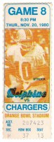 1980 Chargers at Dolphins ticket stub