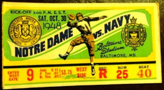 1948 NCAAF Notre Dame vs Navy at Baltimore