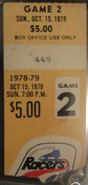 1978 WHA Playoffs Bulls at Racers Gretzky 2nd game stub
