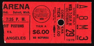1975 Lakers at Pistons stub