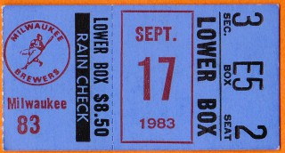 1983 Brewers at Orioles stub