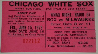 1973 Brewers at White Sox stub