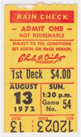 1972 White Sox at Athletics stub