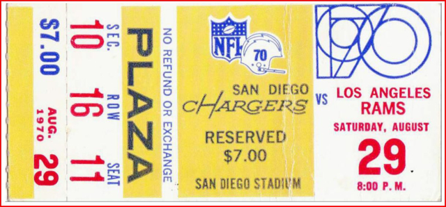 1970 Rams at Chargers stub