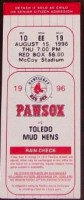1996 Pawtucket Red Sox ticket stub vs Toledo