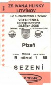 2005 Czech Hockey ticket stub Plezn vs Litvinov
