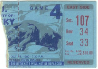 1980 NCAAF LSU at Kentucky stub