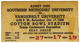 1936 NCAAF Vanderbilt at SMU