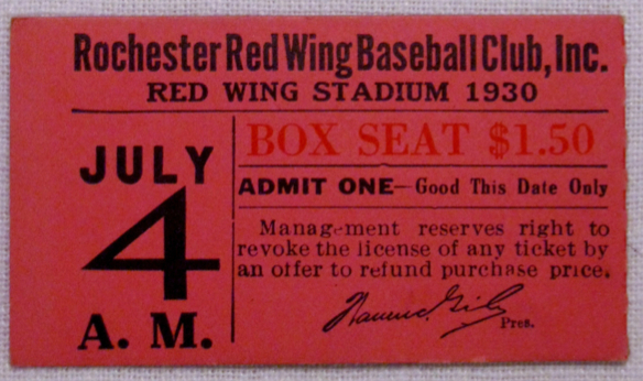 1930 Rochester Red Wings ticket stub