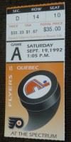 1992 Nordiques at Flyers