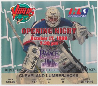 1998 IHL Detroit Vipers ticket stub vs Cleveland Lumberjacks