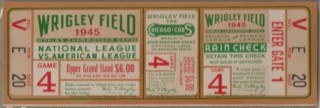 1945 World Series Game 4 Full Ticket Tigers vs Cubs Billy Goat Game