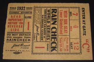 1932 WORLD SERIES  Gm 1 Cubs at Yankees Gehrig HR stub