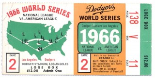 1966 World Series Game 2 ticket stub Orioles at Dodgers