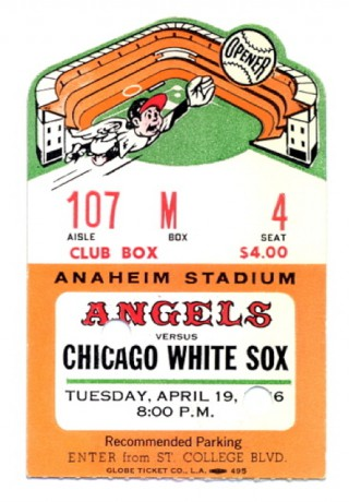 1966 White Sox at Angels Opening Day  stub
