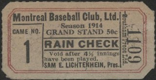 1914 Montreal baseball ticket stub