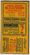 1926 World Series Game 2 Ticket Stub Cardinals at Yankees
