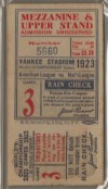 1923 World Series Game 3 Ticket Giants at Yankees