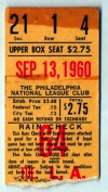 1960 Dodgers at Phillies Sandy Koufax ticket stub