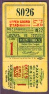 1922 World Series Game 1 Ticket Stub Yankees at Giants