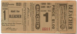 1931 World Series Game 1 Ticket Stub Athletics at Cardinals