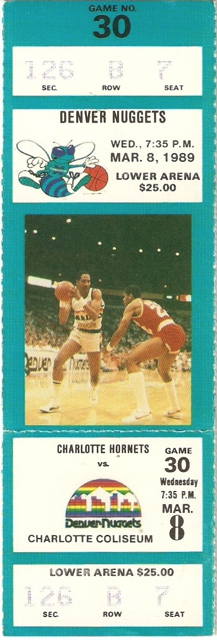 1989 Nuggets at Hornets stub