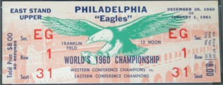 1960 NFL Championship ticket Packers at Eagles