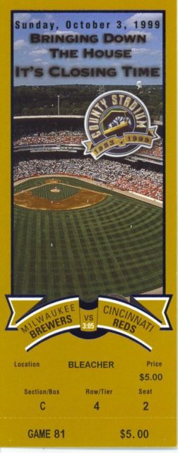1999 Reds at Brewers Last Game County Stadium stub