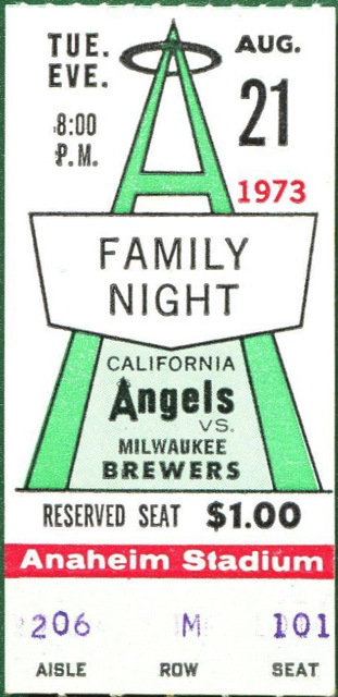 1973 Brewers at Angels stub