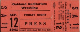 1941 Pacific Coast Wrestling Oakland Auditorium stub