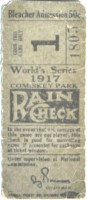 1917 World Series Game 1 Ticket Stub Giants at White Sox