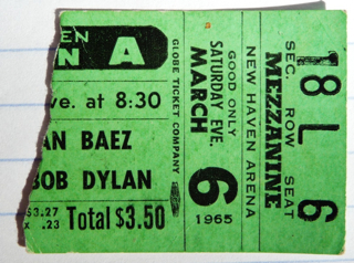 1965 Bob Dylan and Joan Baez New Haven stub