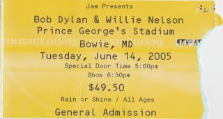 2005 Bob Dylan Willie Nelson Bowie MD stub