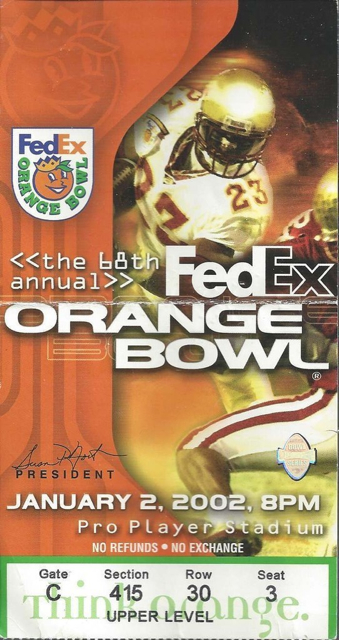 2012 Orange Bowl Maryland vs Florida stub