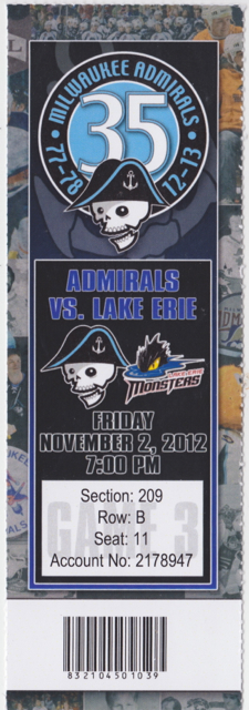 2012 Milwaukee Admirals ticket stub vs Lake Erie for sale
